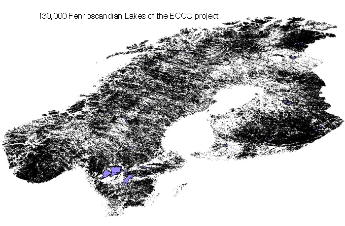130 000 lakes of the ECCO project covering the Fennoscandian region. We aim to project changes in the ecology and properties of these lakes with global warming.
